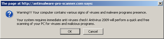 fake Virus popup